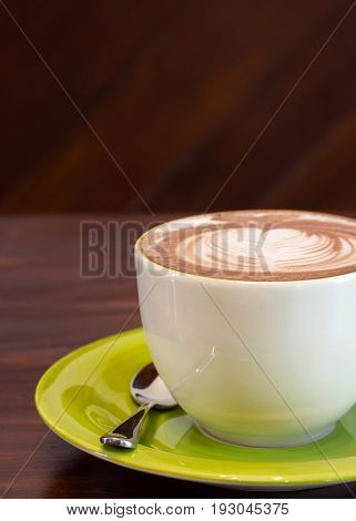 cup of coffee on the wood table