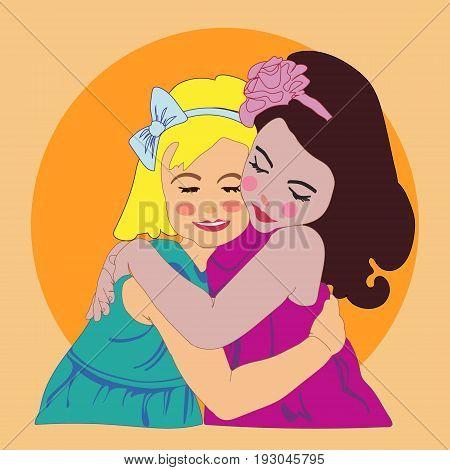 Two girls girls hugs girlfriends vector illustration