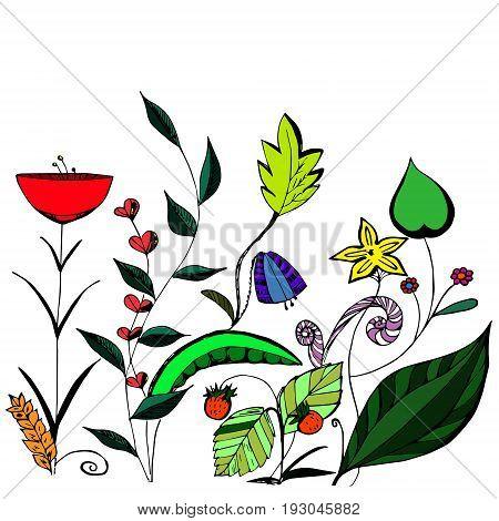 Background of vegetation hand-drawn flower patterns vector illustration