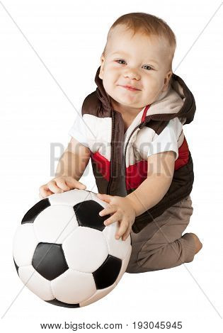 Little boy baby looking at camera arms outstretched white background