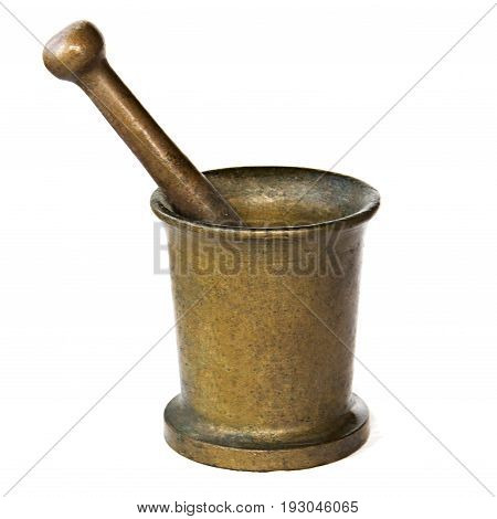 Antique Copper Mortar And Pestle Isolated On White Background