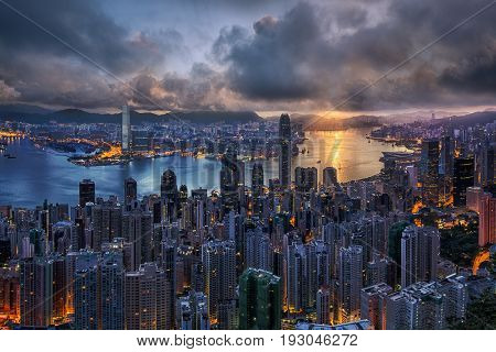 Hong Kong Skyline from the Peek Road