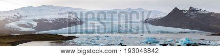 Fjallsarlon Glacial Lagoon of Vatnajokull Glacier Iceland panorama