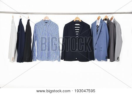 Set of men's suits ,shirt on hanging