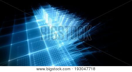 Abstract background. Fractal graphics series. Three-dimensional composition of repeating grids. Information technology concept. Wide format high resolution image. Blue and black colors.