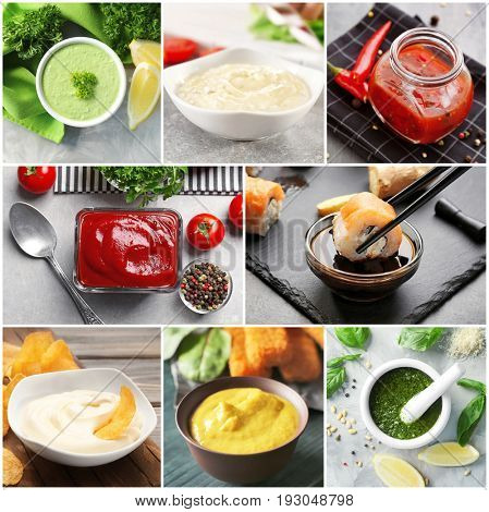 Collage of different natural sauces