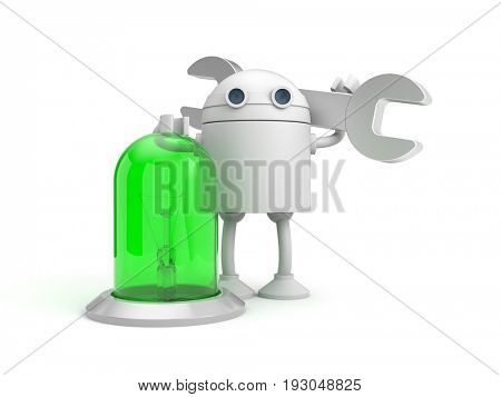 Robot mechanic with green lamp. 3d illustration