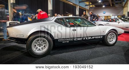 MAASTRICHT NETHERLANDS - JANUARY 15 2016: Sports car De Tomaso Pantera GTS 1973. International Exhibition InterClassics & Topmobiel 2016