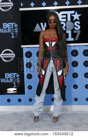 LOS ANGELES - JUN 25:  Ryan Destiny at the BET Awards 2017 at the Microsoft Theater on June 25, 2017 in Los Angeles, CA