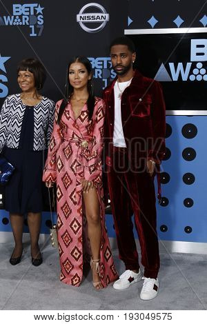 LOS ANGELES - JUN 25:  Myra Anderson, Jhene Aiko, Big Sean at the BET Awards 2017 at the Microsoft Theater on June 25, 2017 in Los Angeles, CA