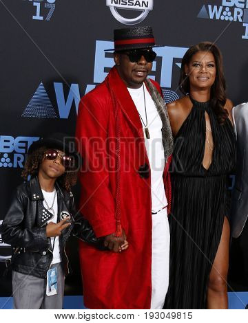 LOS ANGELES - JUN 25:  Cassius Brown, Bobby Brown, Alicia Etheredge at the BET Awards 2017 at the Microsoft Theater on June 25, 2017 in Los Angeles, CA