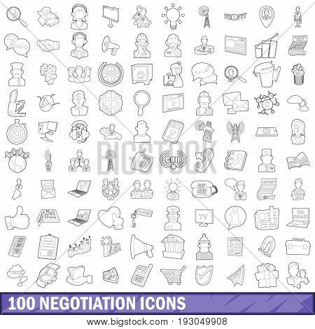100 negotiation icons set in outline style for any design vector illustration
