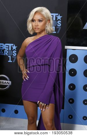 LOS ANGELES - JUN 25:  Karrueche Tran at the BET Awards 2017 at the Microsoft Theater on June 25, 2017 in Los Angeles, CA