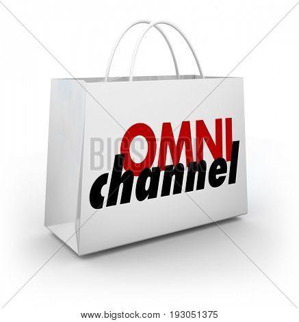 Omni Channel Shopping Bag Online Physical Store Platform 3d Illustration