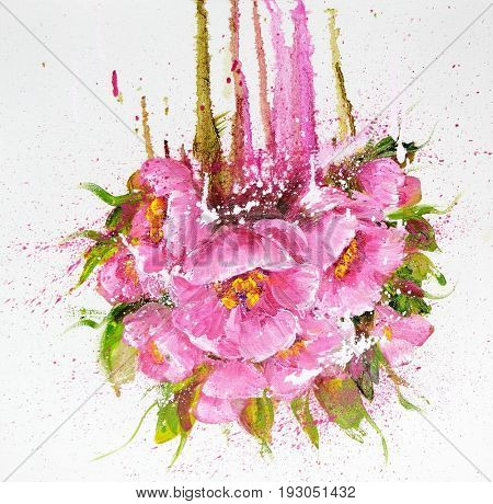 Bouquet of pink flowers with paint drips. Oil painting on Canvas