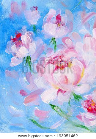 Blooming pink peony on blue background. Oil painting on canvas