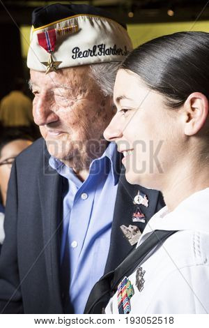 Member of the U.S. Navy and 96-year-old Pearl Harbor survivor Armando 'Chick' Galella attend the Memorial Day Observance service on the Intrepid Sea, Air & Space Museum during Fleet Week NY 2017, NEW YORK MAY 29 2017.
