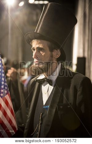 Honest Abe The Third, Abraham Lincoln actor, reciter and quoter at the annual Memorial Day Observance ceremony on the Intrepid Sea, Air & Space Museum in Manhattan, Fleet Week, NEW YORK MAY 29 2017.