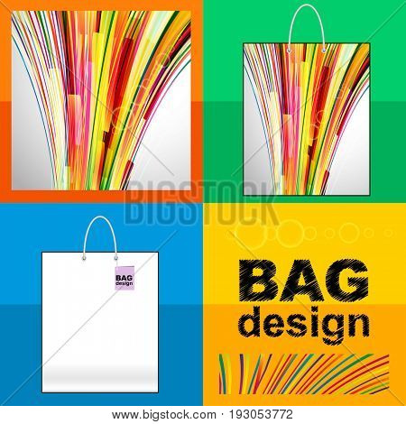 Template shopping Bag: abstract background made of splash stripes and lines.