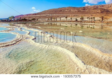Picturesque stripes of salt on the shallow seashore. Therapeutic Dead Sea, Israel. The concept of medical and ecological tourism