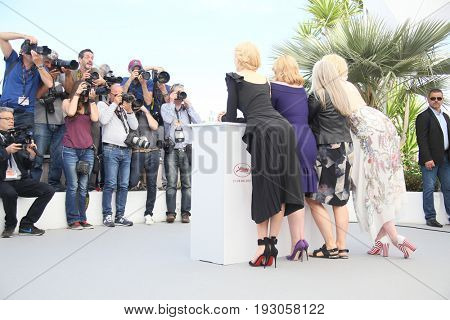 Nicole Kidman, Elisabeth Moss, Jane Campion, Gwendoline Christie attend the 'Top Of The Lake: China Girl' photocall during the 70th Cannes Film Festival at Palais  on May 23, 2017 in Cannes, France.