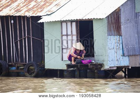 Can Tho, Vietnam - March 24, 2017 : Local people living their every day life on the Mekong River in Can Tho, Vietnam