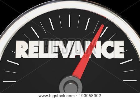 Relevance Importance Relevant Matters Speedometer 3d Illustration