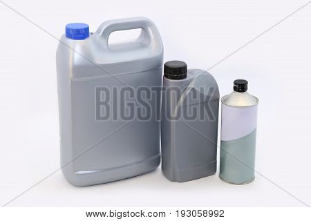 Machine oil in a package on a white background insulation