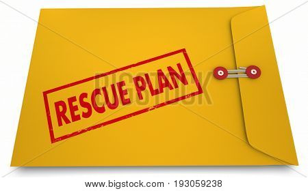 Rescue Plan Yellow Envelope Stamp Save Strategy 3d Illustration