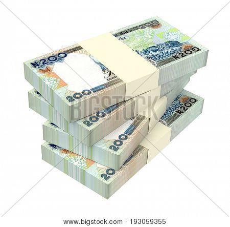 Nigerian nairas bills isolated on white background. 3D illustration.