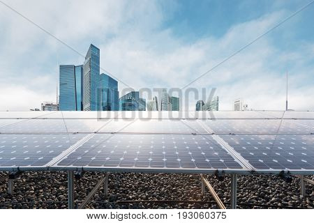 solar power station with modern buildings in singapore