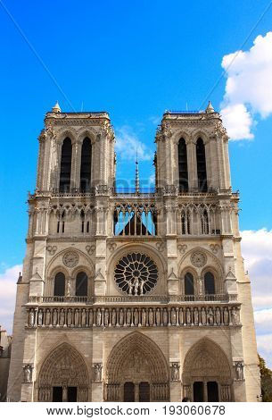 Facade of famous Cathedral of Notre Dame de Paris, Paris, France