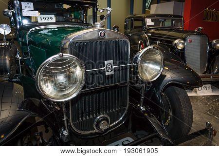 MAASTRICHT NETHERLANDS - JANUARY 15 2016: Vintage car Cadillac 341A Fleetwood 1929. International Exhibition InterClassics & Topmobiel 2016