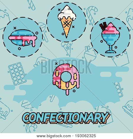 Confectionary flat icons. Design concept. Vector illustration EPS 10