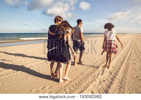 Back view of a group of friends walking together along the seashore