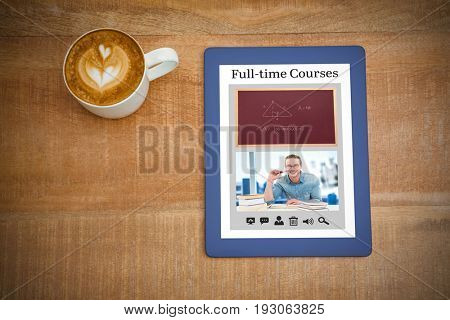 Vector image of e-learning interface against above view of a coffee and a blue tablet