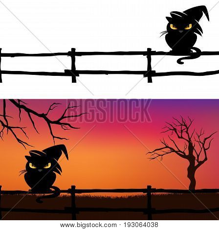 Halloween vector background with black cat fence and bare twisted tree branches silhouette