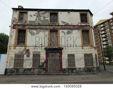 An old derelict abandoned pub in wakefield england