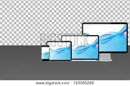 Realistic Computer Laptop, Mobile Phone, Tablet PC with Abstract Transperent Wallpaper on Screen. Vector Illustration EPS10