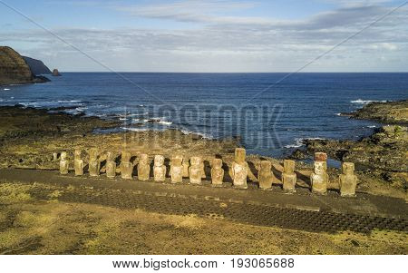 Aerial view of Ahu Tongariki is the largest ahu on Easter Island