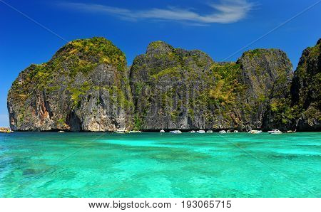 Maya Beach Island In Andaman Sea In Thailand.