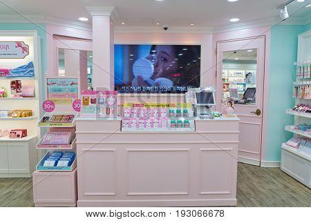 SEOUL, SOUTH KOREA - CIRCA MAY, 2017: inside Etude House store in Seoul.