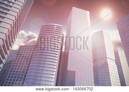 Three dimensional image of tall buildings against scenic view of sun over cloudscape during sunny day