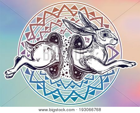 Hare running or jackrabbit jumping through the magic wormhole in vinatge style. Circus illusion and surreal art. For tattoo, nature, witchcraft symbol. Isolated vector illustration.