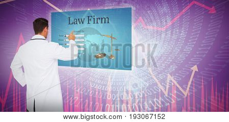 Handsome doctor pointing against stocks and shares
