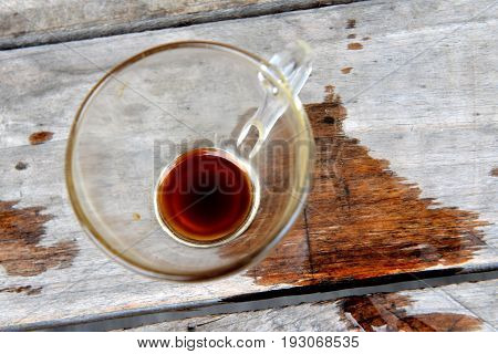 Coffee Americano Empty Glass Cup On Wood Table.