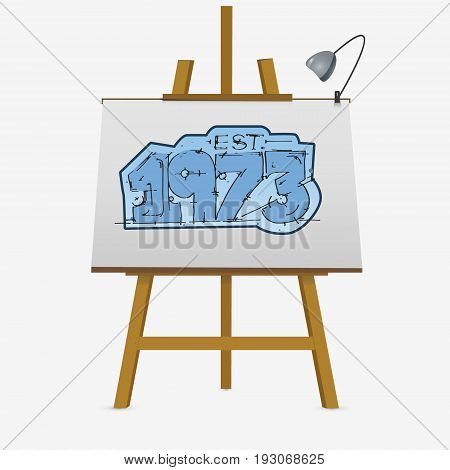 Hand Lettering Numbers Design. Est .1973.