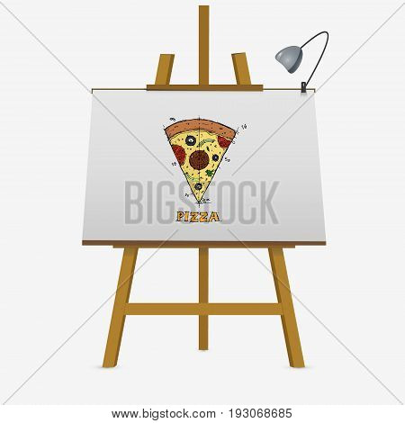 Hand Drawn Slice Of Pizza On Easel