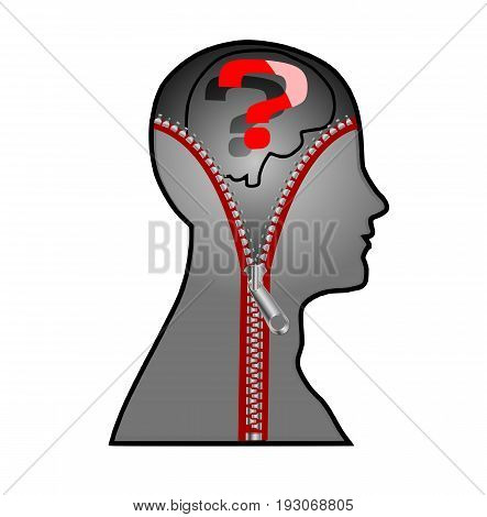 The man's head with a zipper, vector art illustration of the concept of hidden thoughts.