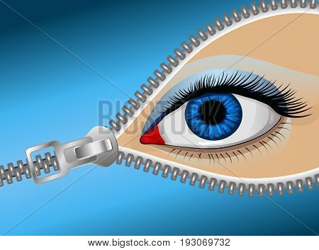 Eye of the man behind the zipper, vector art illustration covert glance. poster